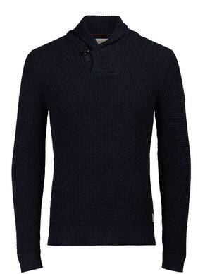 WAFFLE KNIT SHAWL NECK PULLOVER