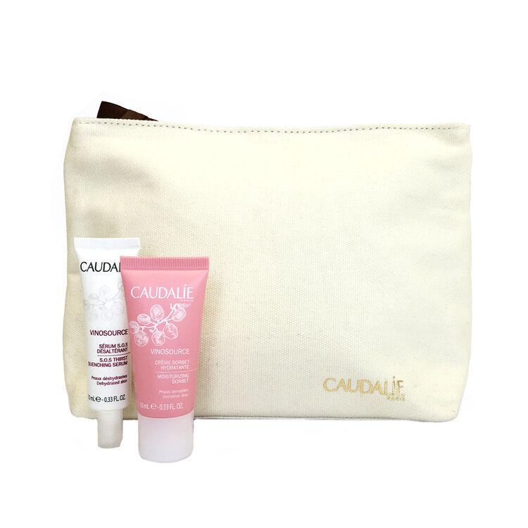 Vinosource SOS Serum (10ml) and Vinosource Moisturising Sorbet (10ml) plus makeup bag, , large