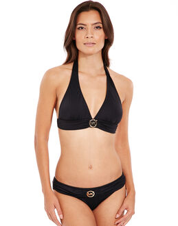 Michael by Michael Kors Logo Solids Logo Ring Halter Bikini Top