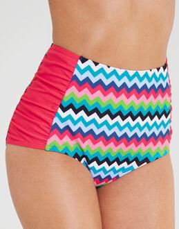 figleaves Cindy Chevron High Waisted Tummy Control Bikini Brief