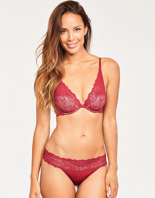 Seductive Comfort W/Lace Plunge Lightly Lined