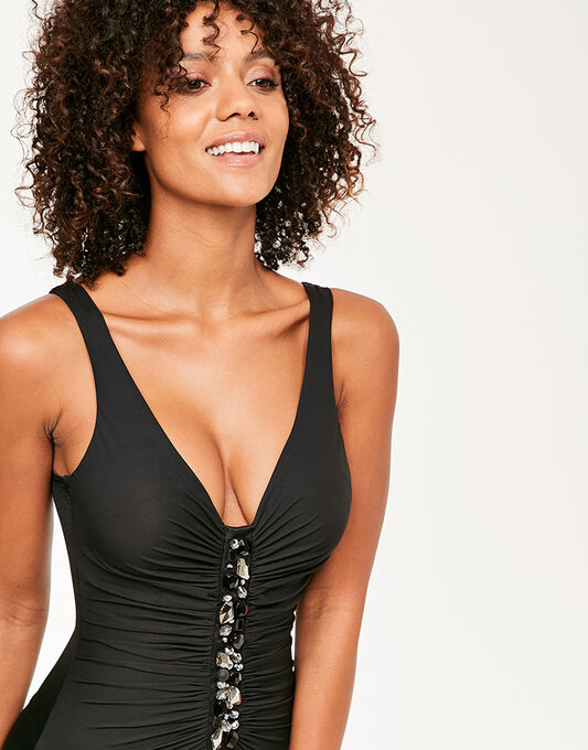 Miraclesuit Black Treasure Island Jewel Box Firm Control Swimsuit