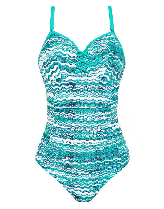 figleaves Blue Wave Underwired Bandeau Tummy Control Swimsuit