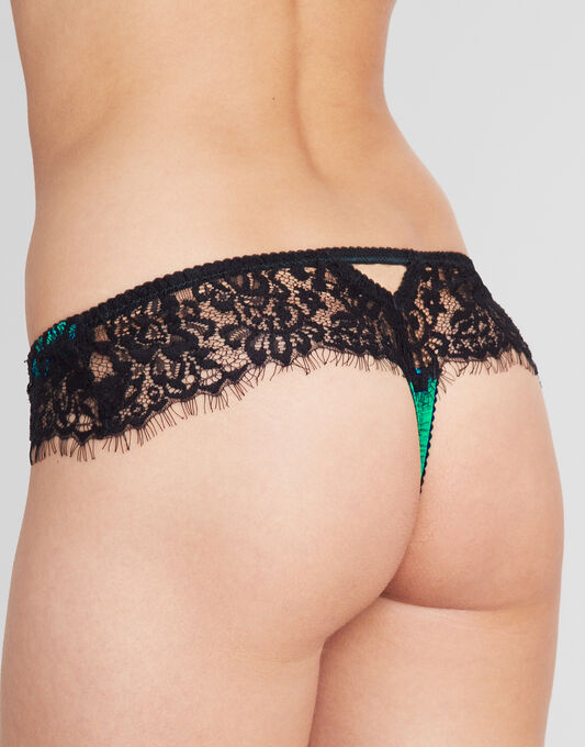 Tease Silk And Lace Thong