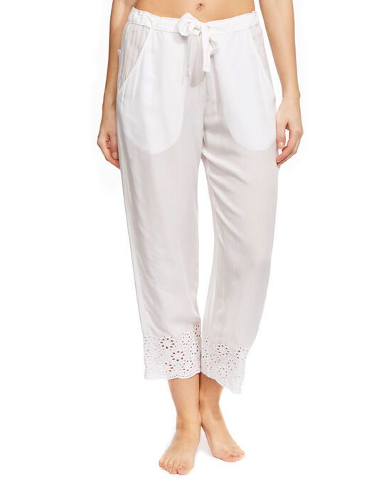 Embroidered Woven Crop Pant