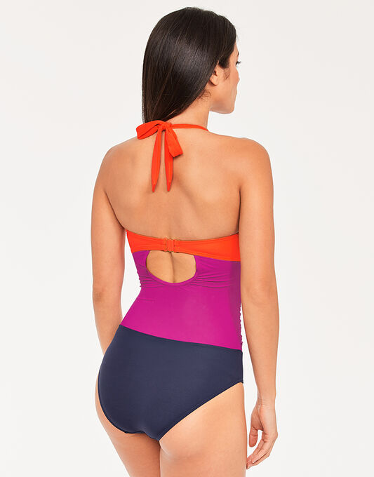 figleaves Colourblock Underwired Shaping Halter Swimsuit