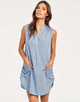 Seafolly Pacifico Sleeveless Boyfriend Beach Shirt