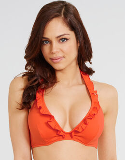 Pureda Solids Hidden Wire Halterneck Bikini Top With Frill