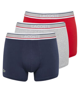 Lacoste Colours 3 Pack Grey Waistband Trunk