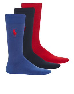 Polo Ralph Lauren Solid Big Polo Player 3 Pack Sock Gift Box
