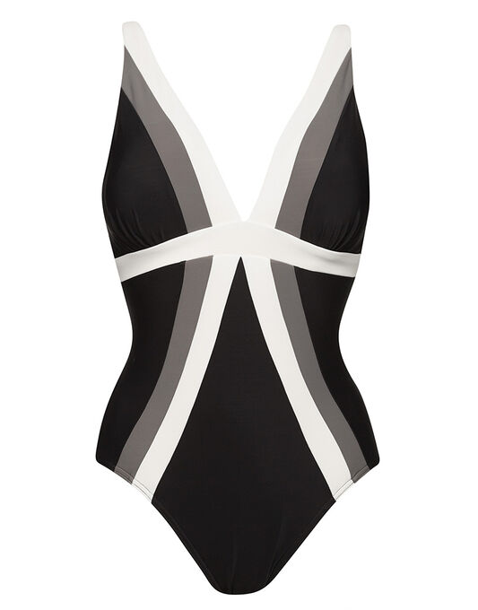 Miraclesuit Stripe Spectra Trilogy Soft Cup Firm Control Swimsuit
