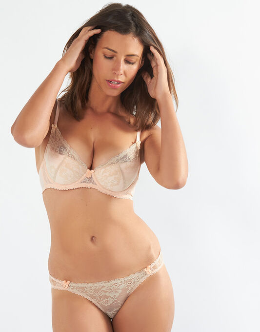 Mimi Holliday Toffee Dazzler Super Plunge Lace Bra