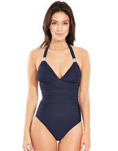 Illusion Halter Firm Control Swimsuit