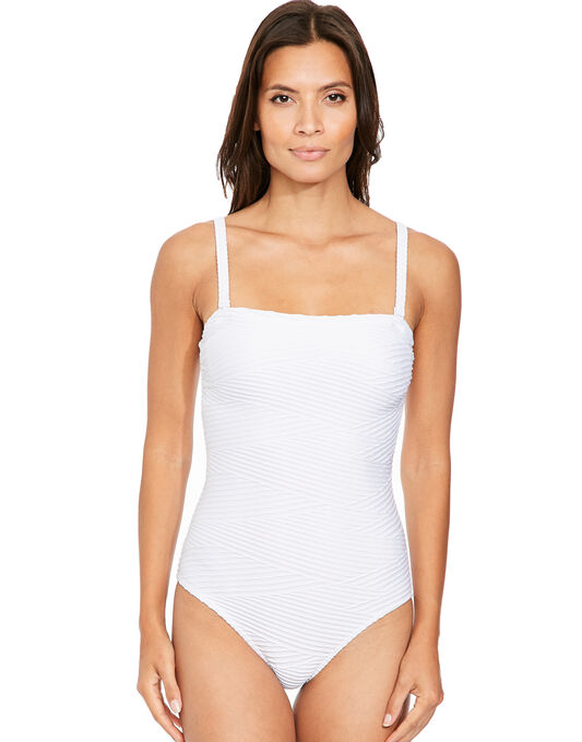 figleaves Icon Pleat Bandeau Shaping Swimsuit