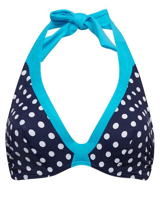 figleaves Tuscany Spot Underwired Non Padded Halter Bikini Top