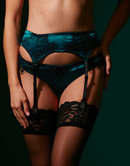 figleaves Tease Silk And Lace Suspender
