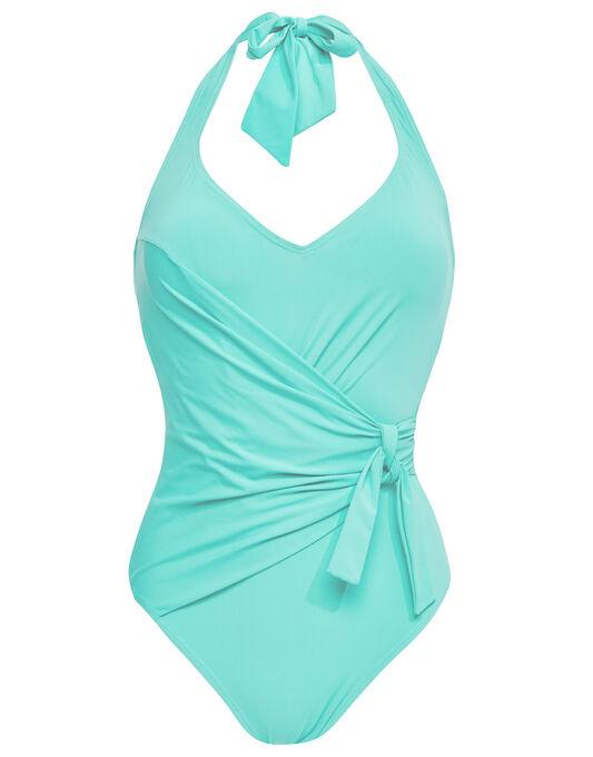 Seaspray Just Plain Control Tie Neck Draped Front Swimsuit