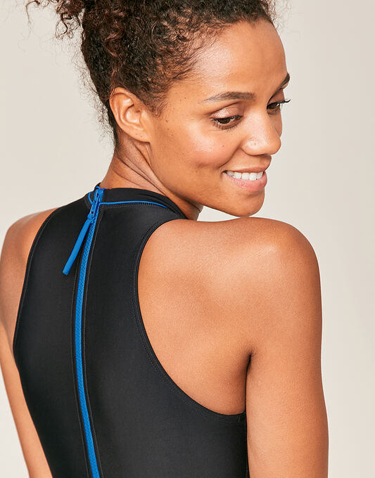 Zoggs Black Hydrolife Cable Zipped High Neck Swimsuit