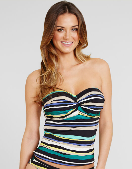 figleaves Sorrento Stripe Underwired Padded Twist Bandeau Tankini Top