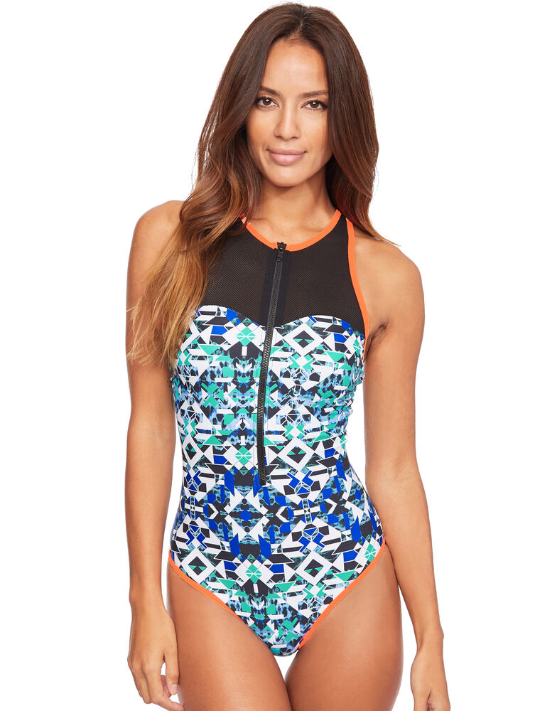 Mayan High Neck Zip Front Tummy Control Swimsuit
