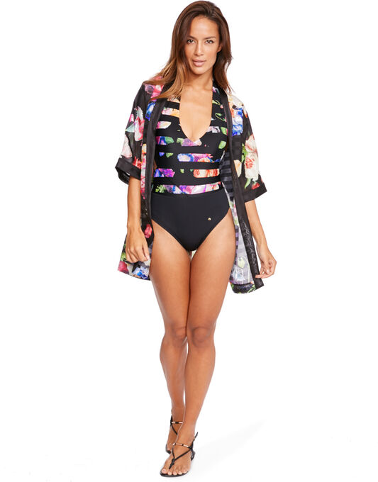 Tapestry Floral Stripe Cover Up