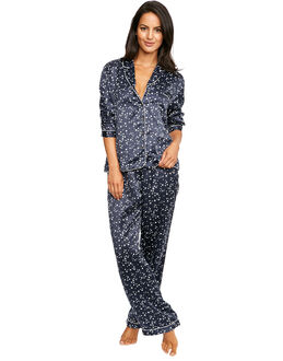 figleaves Satin Star Print Long Pyjama Set