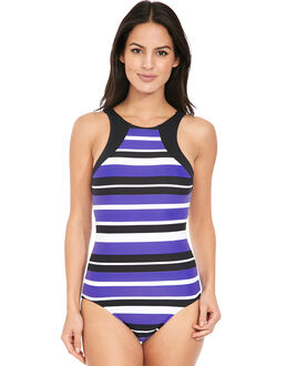 Seafolly Walk the Line High Neck Maillot Swimsuit