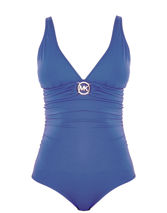 Michael by Michael Kors Logo Solids Logo Ring Shirred Swimsuit