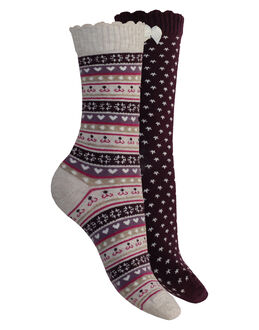 Charnos Hosiery Fashion Cotton Heart & Fairisle Socks 2 Pack