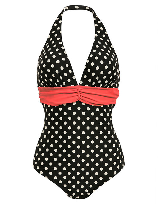 figleaves Tuscany Spot Tummy Control Swimsuit - Longer Length