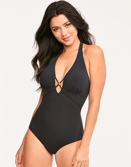 figleaves Icon Strapping Halter Shaping Black Swimsuit