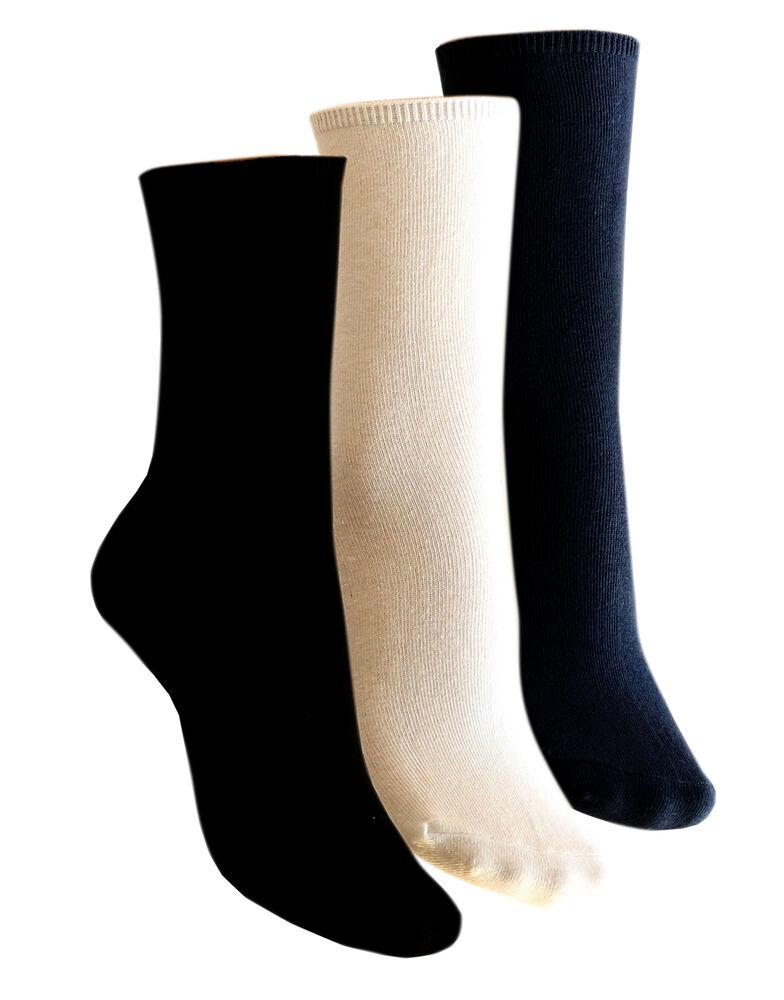 Plain Cotton Comfort Top Crew Socks 2 Pack 1163375