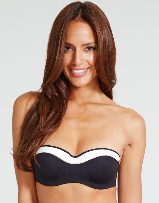 Sunset Stripes Padded Strapless Bandeau Bikini Top
