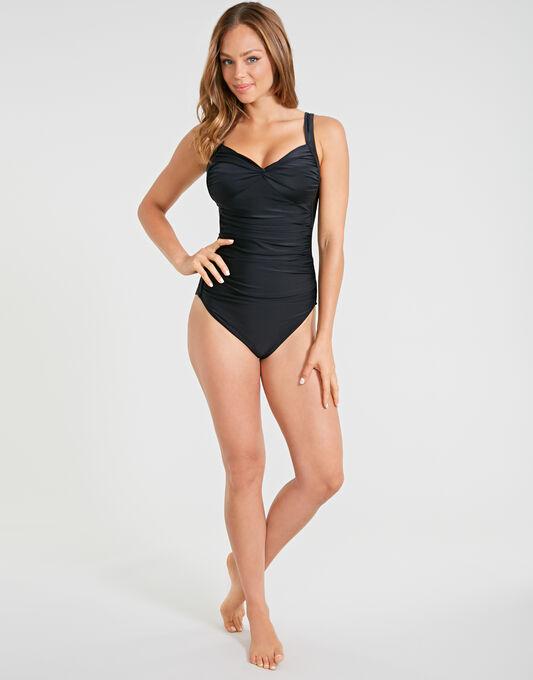 Seaspray Just Black Long Length Draped Front Swimsuit