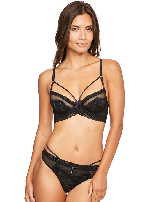 figleaves Temptation Fishnet And Lace Underwired Bra B-G