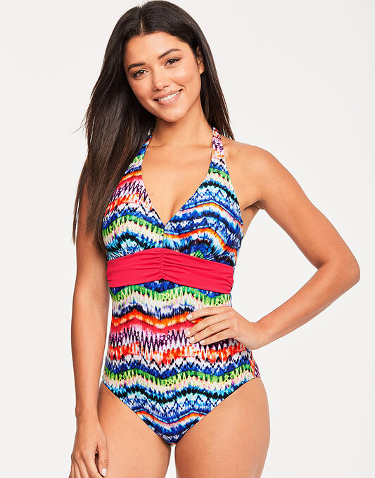 figleaves Lima Underwired Halter Tummy Control Swimsuit