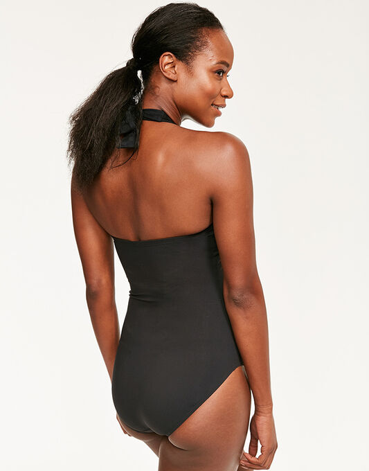 figleaves Icon Spot Mesh Halter Shaping Black Swimsuit