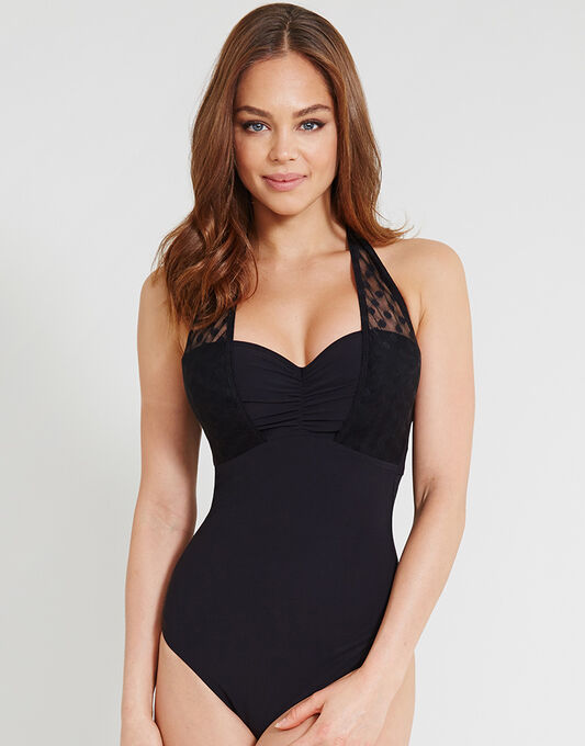 figleaves Icon Spot Mesh Underwired Shaping Halter Black Swimsuit