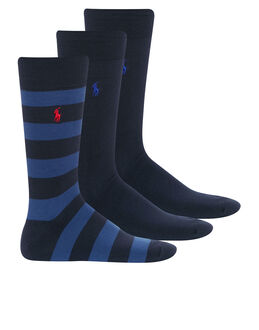 Polo Ralph Lauren Classic Stripe 3 Pack Socks Gift Box