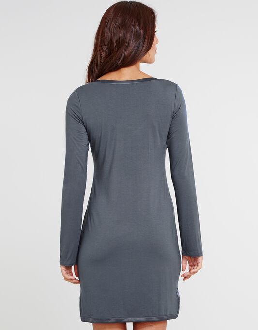 Modal With Satin Long Sleeve Nightshirt