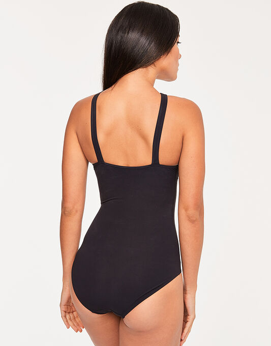 figleaves Icon High Neck Cross Over Shaping Black Swimsuit