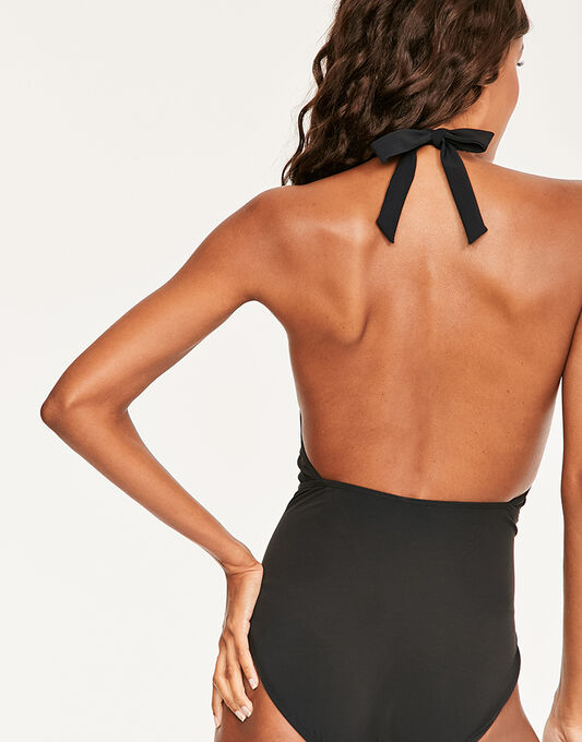 figleaves Icon Farah High Neck Shaping Black Swimsuit