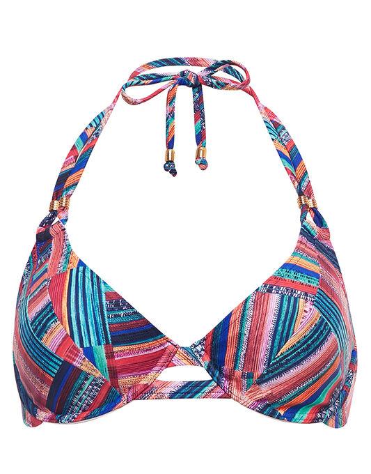figleaves Cuban Patchwork Underwired Halter Bikini Top