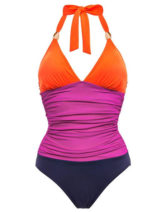 figleaves Colourblock Shaping Halter Swimsuit