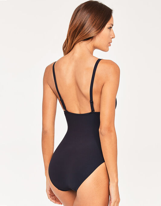 figleaves Icon Ladder Tummy Control Black Swimsuit