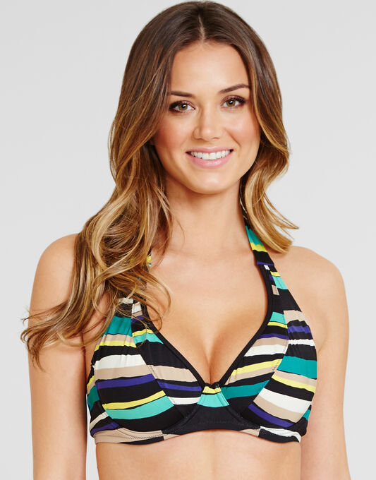 figleaves Sorrento Stripe Non Padded Underwired Halter Bikini Top