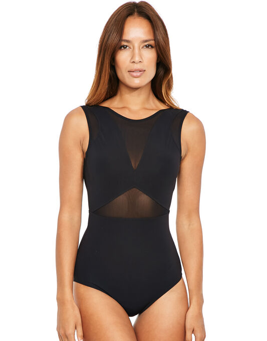 figleaves Icon Mesh Shaping Black Swimsuit