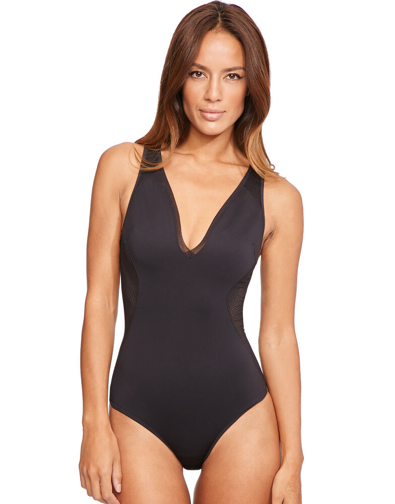 Neoprene and Mesh One Piece Swimsuit