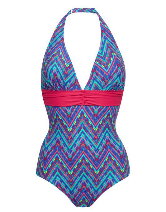 figleaves Bellini Halter Tummy Control Swimsuit Longer Length