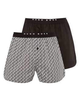 BOSS Black Printed 2 Pack Woven Boxer